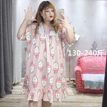 胖仙女kr莹大码女装ey200斤胖MM韩款可爱减龄睡衣睡裙家居服