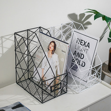 北欧简kr铁艺书架收st公用品整理置物桌面文件夹收纳盒