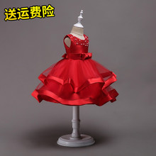 202kr女童缎面公ic主持的蓬蓬裙花童礼服裙手工串珠女孩表演服