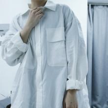 韩国复古ksversibe宽松棉麻衬衫 潮的男女 绅士简约纯色长袖衬衣