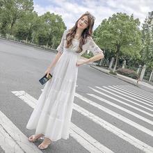 雪纺连ku裙女夏季2hu新式冷淡风收腰显瘦超仙长裙蕾丝拼接蛋糕裙