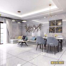 瓷砖 ku体大理石8uo800地板砖灰色简约客厅防滑耐磨地砖背景墙