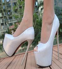 新式1kucm超高跟uo嘴凉鞋粉色防水台性感夜店鞋白色婚鞋女单鞋