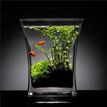 创意斧ku缸桌面(小)型an金鱼缸造景套餐办公室客厅摆件