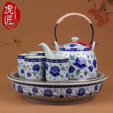 虎匠景ku镇陶瓷茶具ng用客厅整套中式青花瓷复古泡茶茶壶大号
