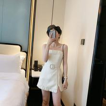 202ku夏季抹胸ang裙高腰带系带亚麻连体裙裤
