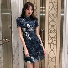 202ku流行裙子夏ao式改良仙鹤旗袍仙女气质显瘦收腰性感连衣裙