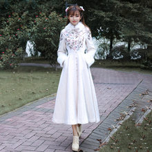 冬季民ku风女装复古20领绣花夹棉加厚毛呢大衣大摆外套洋装