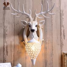 招财鹿ku壁灯北欧式ef视背景墙床头个性创意鹿头墙壁灯装饰品