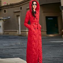 绿慕羽ku服女202ng白鸭绒连帽显瘦冬装女装长式过膝到脚踝外套