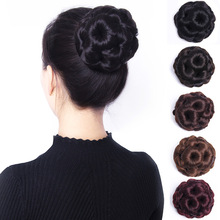 丸子头ku发女发圈花gu发蓬松自然发包盘发器古装发簪韩式发型