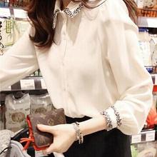 大码白ku衣女秋装新ng(小)众心机宽松上衣雪纺打底(小)衫长袖衬衫
