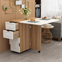简约现ku(小)户型伸缩ng桌长方形移动厨房储物柜简易饭桌椅组合