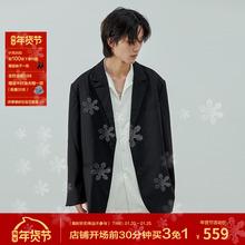 LeskuForteyu创设计垫肩慵懒黑色西装外套 宽松廓形休闲西装男女