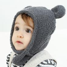 韩国秋ku厚式保暖婴ba绒护耳胎帽可爱宝宝(小)熊耳朵帽