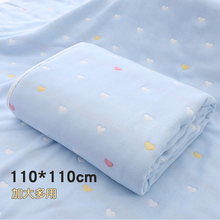 婴儿浴ku纯棉超柔吸ba巾6层纱布新生儿初生宝宝盖毯1.1米加大