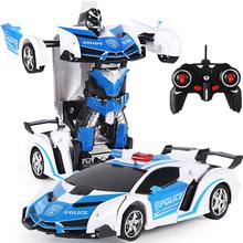 遥控警ku变形汽车金ba的电动遥控车宝宝玩具男孩生日礼物赛车