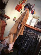 欧洲站ku020秋季bau皮简约时尚女士风衣显瘦中长式长袖外套上衣
