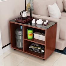 专用茶ku边几沙发边ba桌子功夫茶几带轮茶台角几可移动(小)茶几