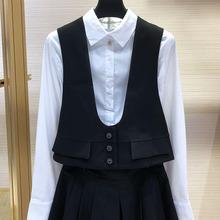 希哥弟ku�q女装专柜nr020夏新式黑色短式马夹背心西装马甲外套