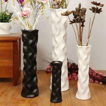 陶瓷简ku现代时尚黑nr地北欧欧式客厅高插花干花器摆件大花瓶