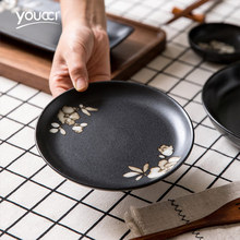 日式陶ku圆形盘子家si(小)碟子早餐盘黑色骨碟创意餐具