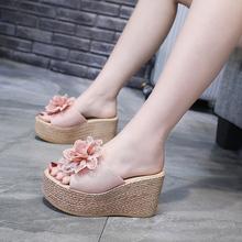 超高跟ku底拖鞋女外si21夏时尚网红松糕一字拖百搭女士坡跟拖鞋