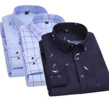 夏季男ku长袖衬衫免ao年的男装爸爸中年休闲印花薄式夏天衬衣