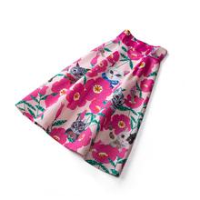 欧洲站kw020欧货ts腰花色印花猫咪动物中长式A字半身裙伞裙子