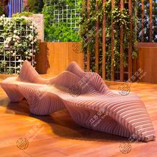 商场座kw创意木质个qr切片艺术不锈钢休息椅子等候椅休闲座椅