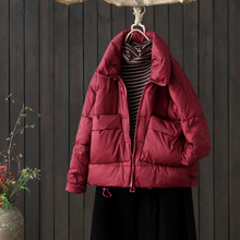 此中原kw冬季新式上qr韩款修身短式外套高领女士保暖羽绒服女