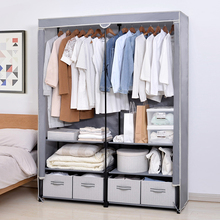简易衣kx家用卧室加ks单的布衣柜挂衣柜带抽屉组装衣橱