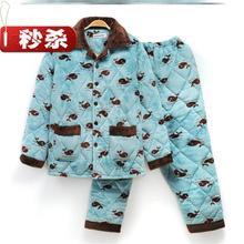 男式老ky的睡衣男冬ru制◆夹棉加厚外套长袖套装夹层外出加绒