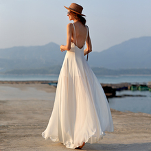 女海边ky假连衣裙 yf游旅拍裙子 白色超仙沙滩裙拍照衣服长裙