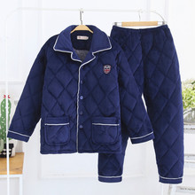 新式水ky绒冬季男式yf厚三层珊瑚绒夹棉中老年保暖家居服套装