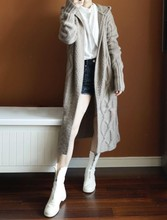 柔糯亲ky松本公司2ex春装女欧洲站中长式抗起球麻花羊毛针织外套