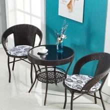 租房接ky桌椅组合圆ie经济型三的家用藤编休闲圆简易椅。