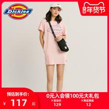 DickyiesLOie花短袖连衣裙 女式夏季新品休闲棉T恤裙子DK007392