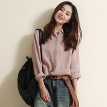 谷家出kz 文艺棉麻s8装新式上衣 设计感(小)众宽松长袖亚麻衬衫