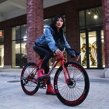 变速公l1赛车自行车09碟刹实心胎成的男女单车学生死飞单车