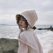 帽子女l2冬花边针织63耳软妹可爱系带毛线帽日系针织帽