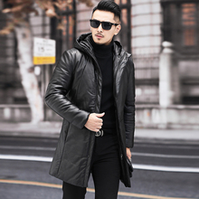 202l6新式海宁皮68羽绒服男中长式修身连帽青中年男士冬季外套