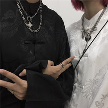INSl6tudio6u0ss韩国ins复古(小)众设计感中式盘扣长袖衬衫男女式潮