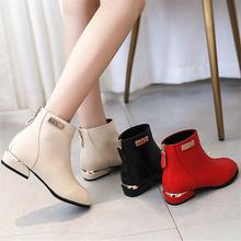 202l9秋冬保暖短2l头粗跟靴子平底低跟英伦风马丁靴红色婚鞋女