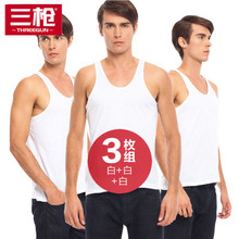 三枪背l9男夏天白色97衣宽松中老年跨栏男士运动老头打底汗衫