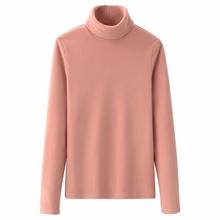 柔软摇la绒打底衫女yb高领秋冬套头抓绒纯色T恤长袖大码保暖