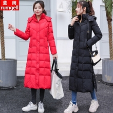 2020新式中长式羽绒la8女加厚过yb身超长冬装白鸭绒大码外套