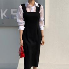 20韩la春秋职业收ra新式背带开叉修身显瘦包臀中长一步连衣裙