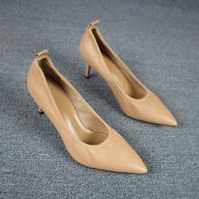 欧洲站la胎牛皮olka跟尖头工作鞋真皮舒适高跟鞋软皮鞋单鞋女