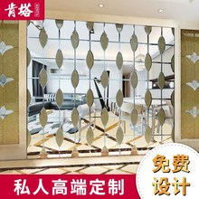 定制装la艺术玻璃拼ij背景墙影视餐厅银茶镜灰黑镜隔断玻璃
